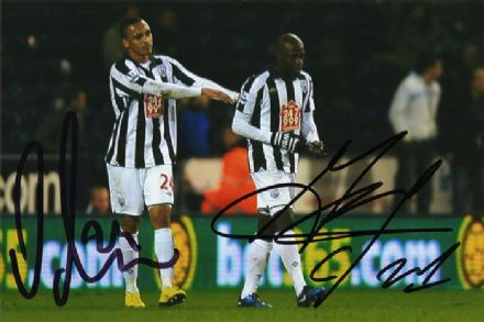 Odemwingie & Mulumbu, West Brom, signed 6x4 inch photo.